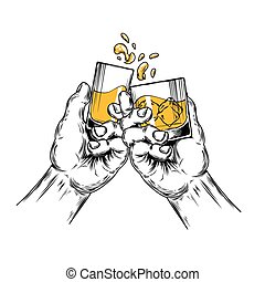 Vector illustration of two hands raised stemware with...