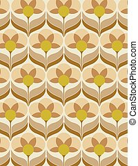 Sixties flower wallpaper - Old sixties wallpaper with yellow...