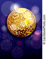Party background with golden disco ball, eps10 vector...