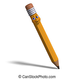 cute and funny cartoon pen with a lovely face. 3D rendering...