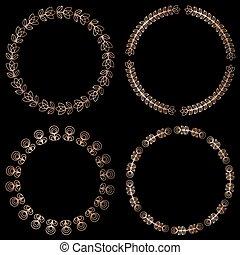 Golden round floral frames, design elements