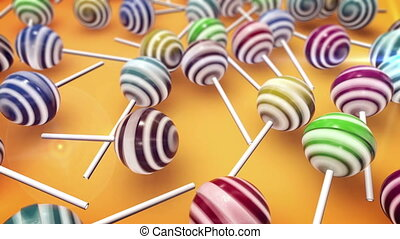 Lollipops. Candy on stick with twisted design.