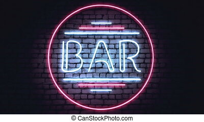 BAR, CASINO and XXX neon signs on a white brick wall