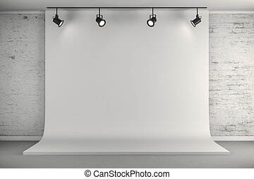 3d studio setup with white canvas background and ceiling...