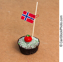 flag of norway on a cupcake