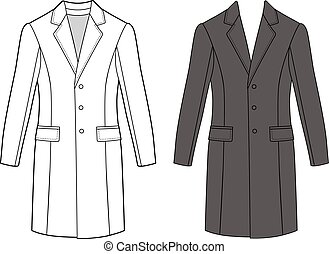 Man's coat (front view) - Man's coat outlined template...