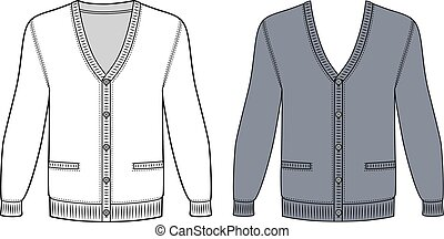 Cardigan - Blank long sleeve cardigan outlined template...