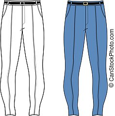 Skinny jeans - Unisex outlined template skinny jeans front...