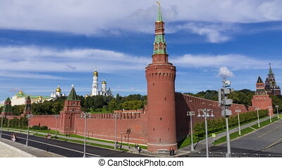 Russian landmark Moscow Kremlin and moving shadows of...