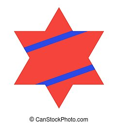 Red Jewish Star with Blue Stripes on White Background. Vector Illustration.
