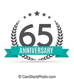 Template Logo 65 Years Anniversary Vector Illustration EPS10