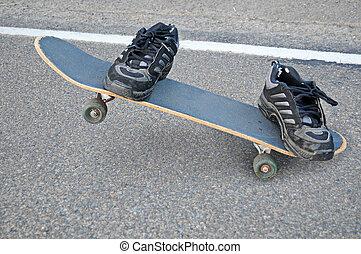 Invisible Skateboarder - An invisible skateboarder riding a...