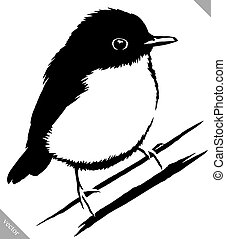 black and white paint draw sparrow bird vector illustration...