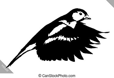 black and white paint draw tit bird vector illustration -...