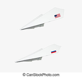 Plane made from paper with flag. Isolated on white...