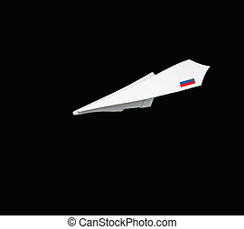 Plane made from paper with flag Isolated on black background...