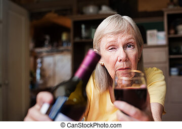 Drunk woman offering a glass of wine - First person...