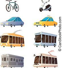 City Transport Flat Cartoon Icons - City transport retro...