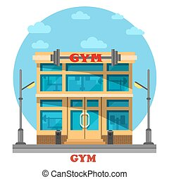Gym or gymnasium, fitness center architecture