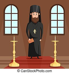 Orthodox christian priest or bishop with beard and cross....