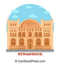 Synagogue or synagog architecture building. Hebrew or...
