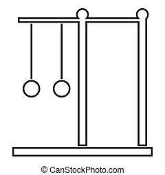 Horizontal bar with rings icon, outline style - Horizontal...