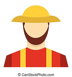 Farmer icon, flat style - Farmer icon in flat style isolated...
