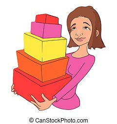 Girl with purchases icon, cartoon style
