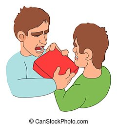 Mens fighting over purchase icon, cartoon style