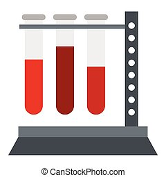 Vial for blood collection icon, flat style