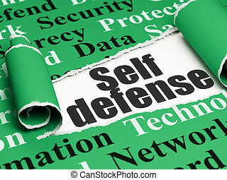 Privacy concept: black text Self Defense under the piece of...