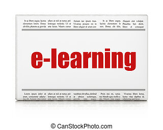 Studying concept: newspaper headline E-learning on White...