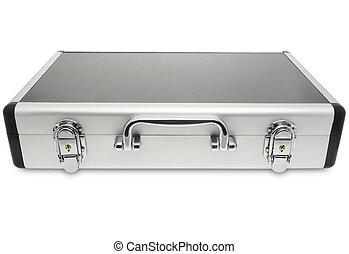 metallic suitcase isolated on white background.