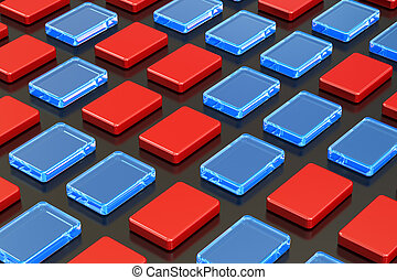 Abstract colored cubes background, 3D rendering