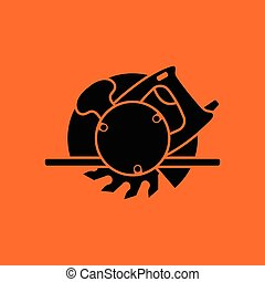 Circular saw icon Orange background with black Vector...