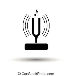 Tuning fork icon. White background with shadow design....