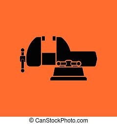 Vise icon. Orange background with black. Vector...