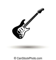 Electric guitar icon White background with shadow design...