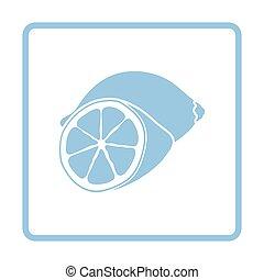 Lemon icon. Blue frame design. Vector illustration.
