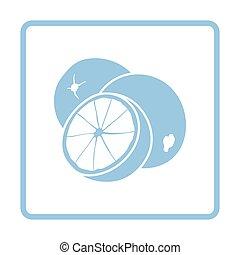 Orange icon. Blue frame design. Vector illustration.