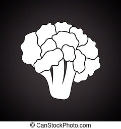 Cauliflower icon. Black background with white. Vector...