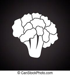 Cauliflower icon. Black background with white. Vector...