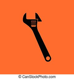 Adjustable wrench icon. Orange background with black. Vector...