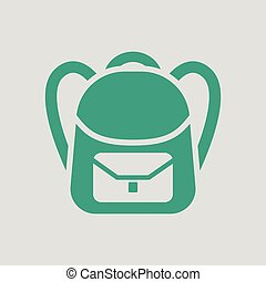 School rucksack icon. Gray background with green. Vector...