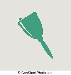 School hand bell icon. Gray background with green. Vector...