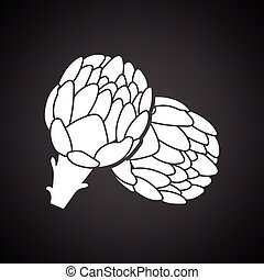 Artichoke icon. Black background with white. Vector...