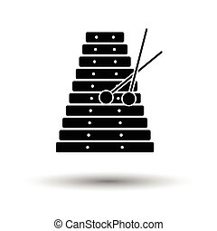 Xylophone icon. White background with shadow design. Vector...