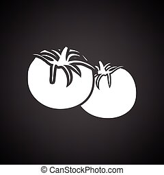 Tomatoes icon. Black background with white. Vector...