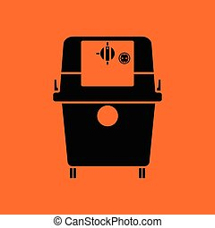 Vacuum cleaner icon. Orange background with black. Vector...