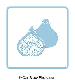 Fig fruit icon. Blue frame design. Vector illustration.